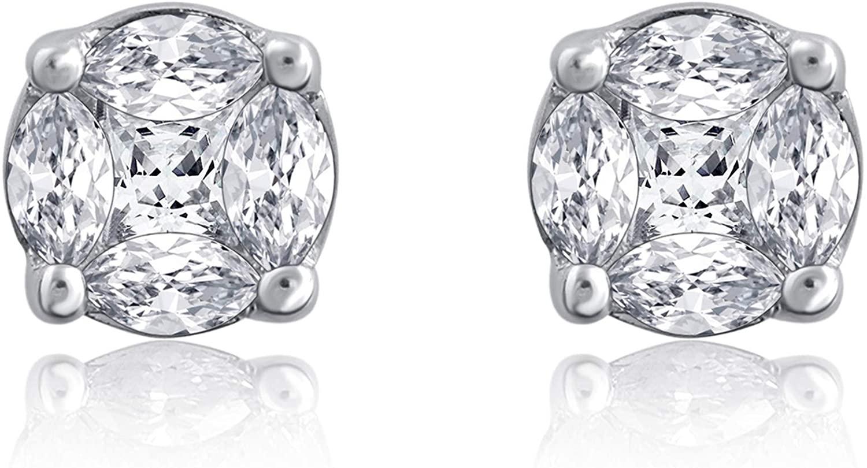 La4ve Diamonds 14K White Gold Marquies And Princess cut Diamond 0.33 Carat Illusion Stud Earrings (Color - H-I) (Clarity - I2-I3)