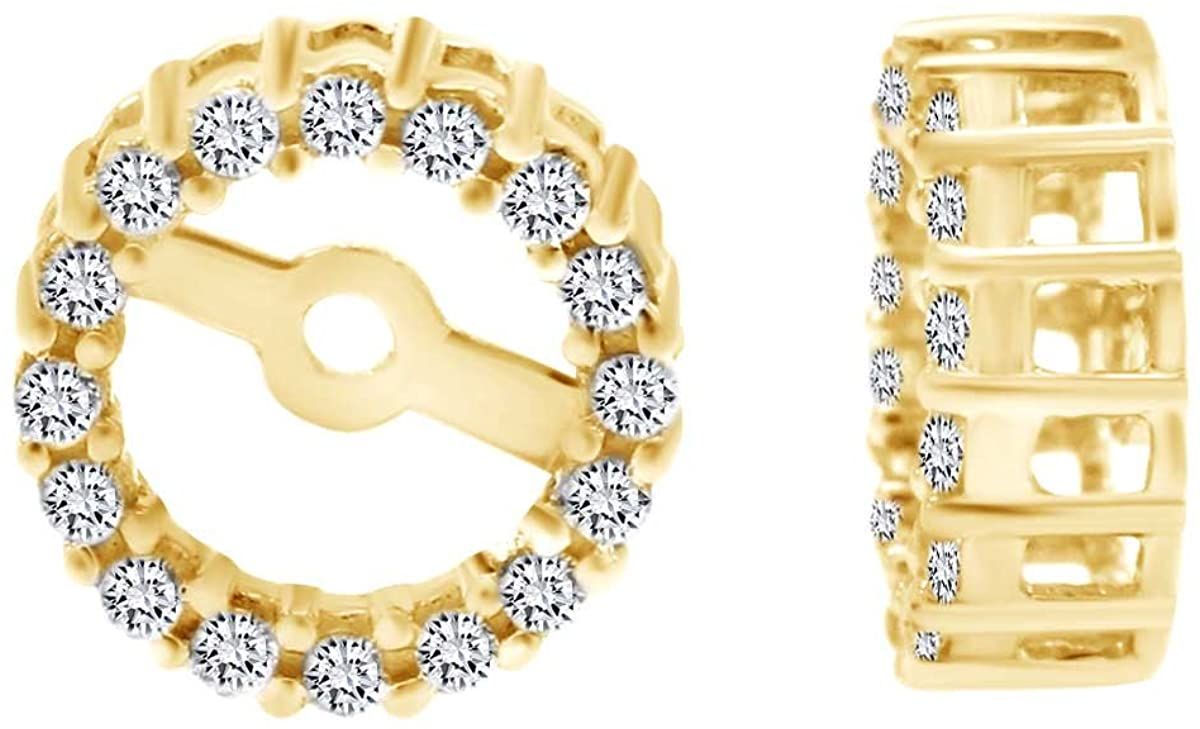 Round Shape White Cubic Zirconia Jacket Stud Earrings In 14k Gold Over Sterling Silver (0.90 cttw)