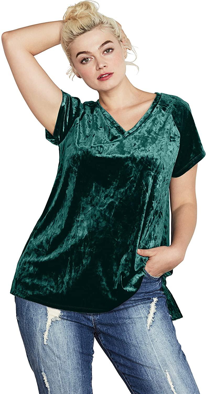 ellos Women's Plus Size Crushed Velour Tee T-Shirt