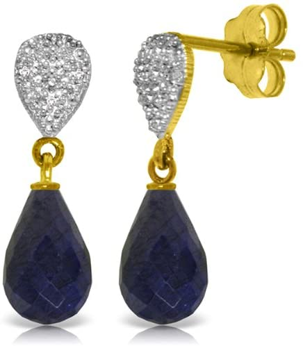 Galaxy Gold 14k Solid Gold Genuine Diamond and Sapphire Dangle Drop Earrings