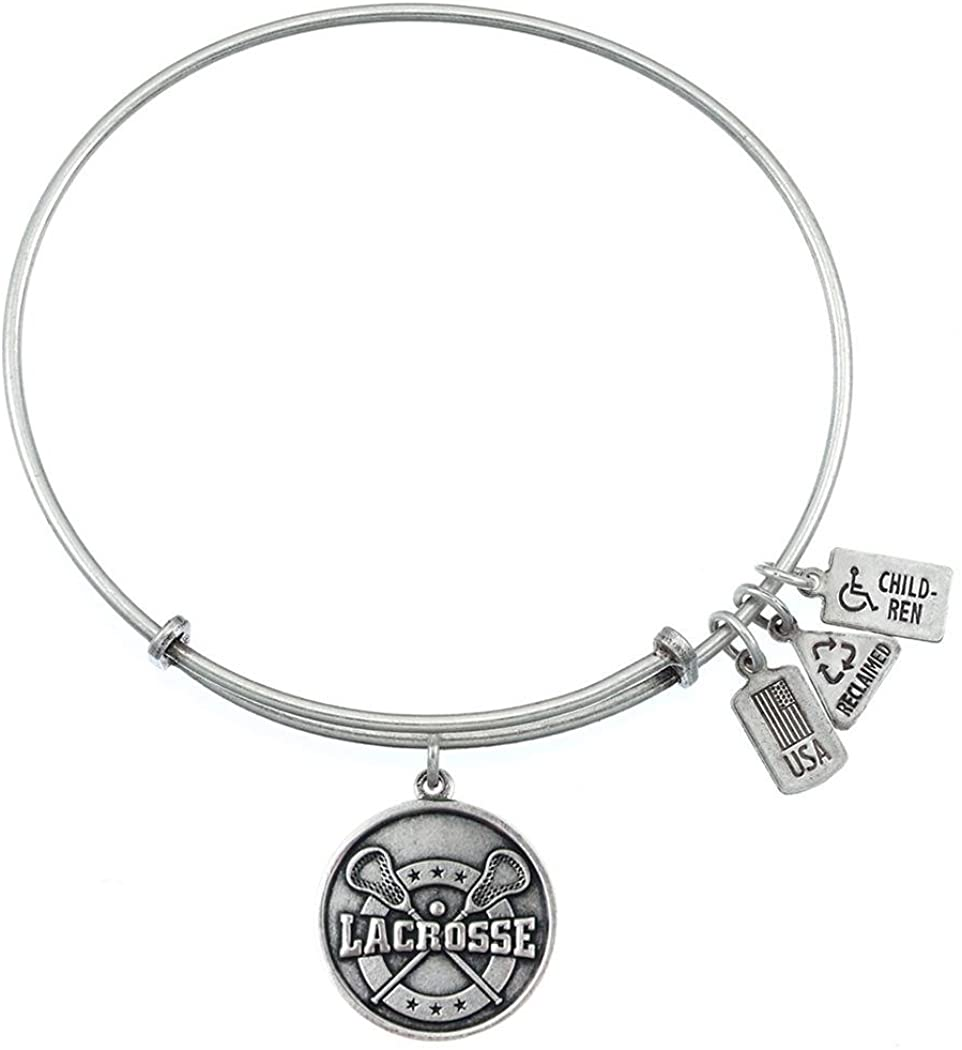 Wind and Fire Lacrosse Silver Finish Charm Bangle