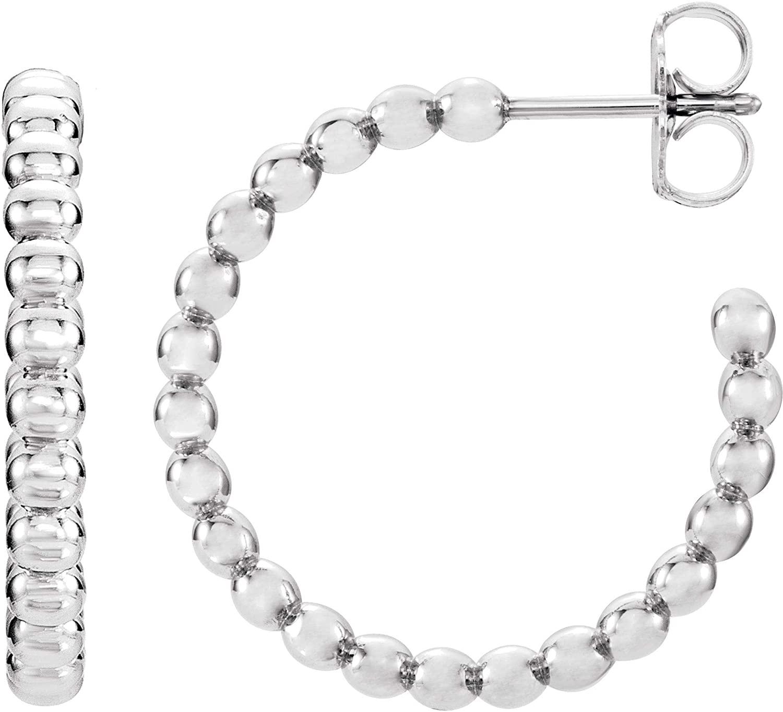 Continuum Sterling Silver 17mm Beaded Hoop Earrings