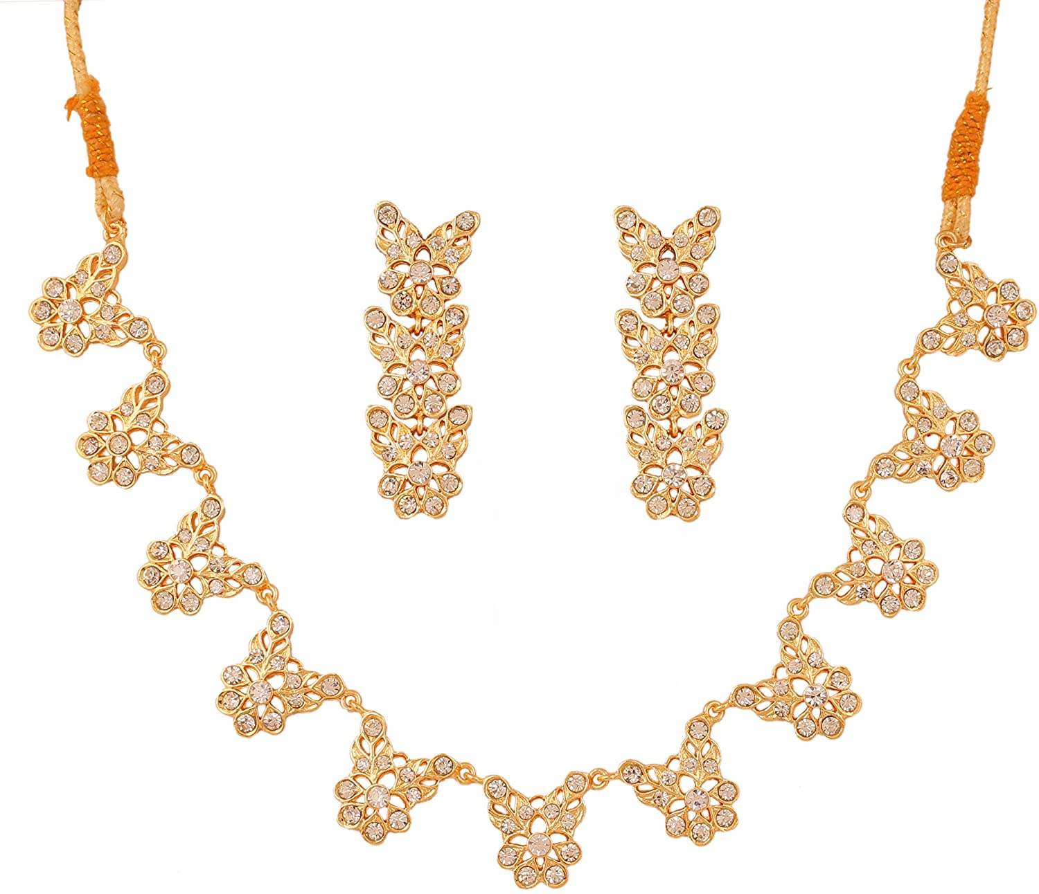 Touchstone Gold Tone Indian Hollywood Mughal Style White Rhinestones Special Occasions Jewelry Necklace