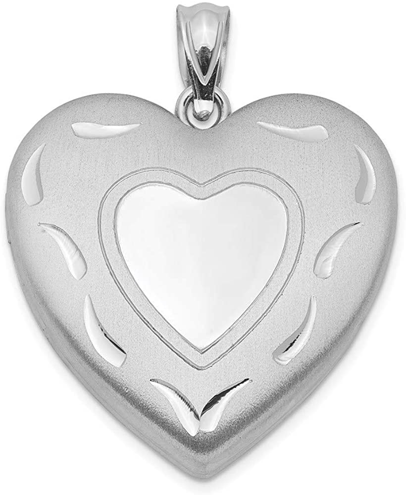 925 Sterling Silver 24mm Heart Photo Pendant Charm Locket Chain Necklace That Holds Pictures Fine Jewelry For Women Gifts For Her