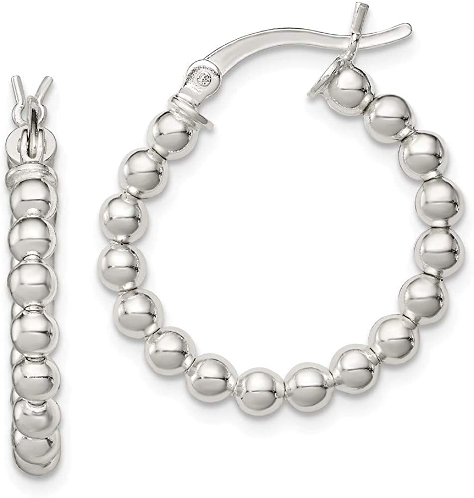 925 Sterling Silver Hinged post Polished Beaded Hoop Earrings Jewelry Gifts for Women
