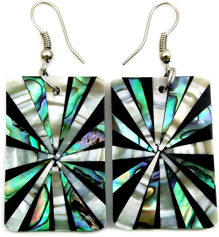 Natural Abalone Shell Mother of Pearl Dangle Drop Earrings Handmade Women Jewelry GA187