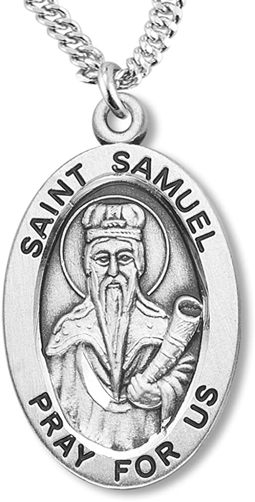 Heartland Store Boy's Sterling Silver Oval Saint Samuel Pendant + 20 Inch Rhodium Plated Chain & Clasp