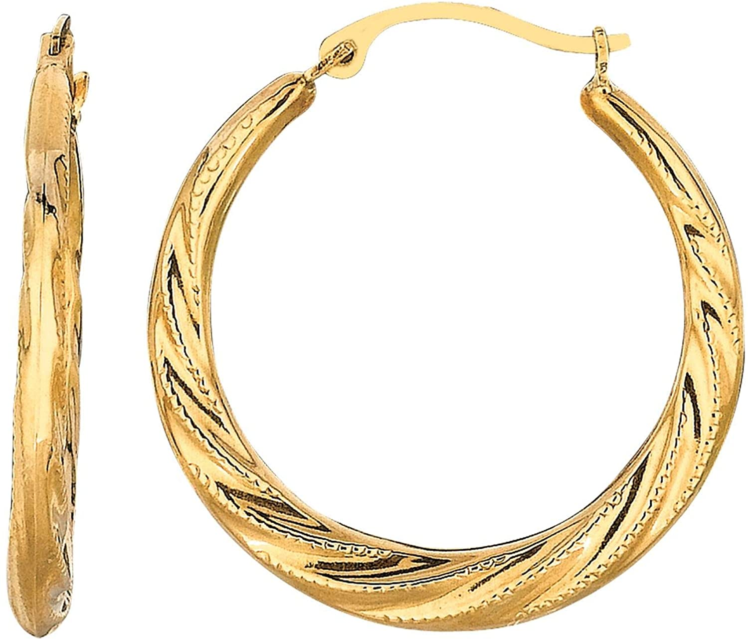 10K Yellow Gold Shiny Textured Fancy Twisted Hoop Earrings with Hinged by IcedTime