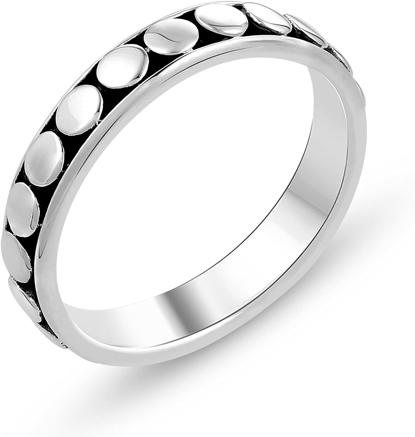 STELLAR DESIGNS Hypoallergenic 925 Sterling Silver Oxidized Wedding Band Ring | Valentine Gifts for Her