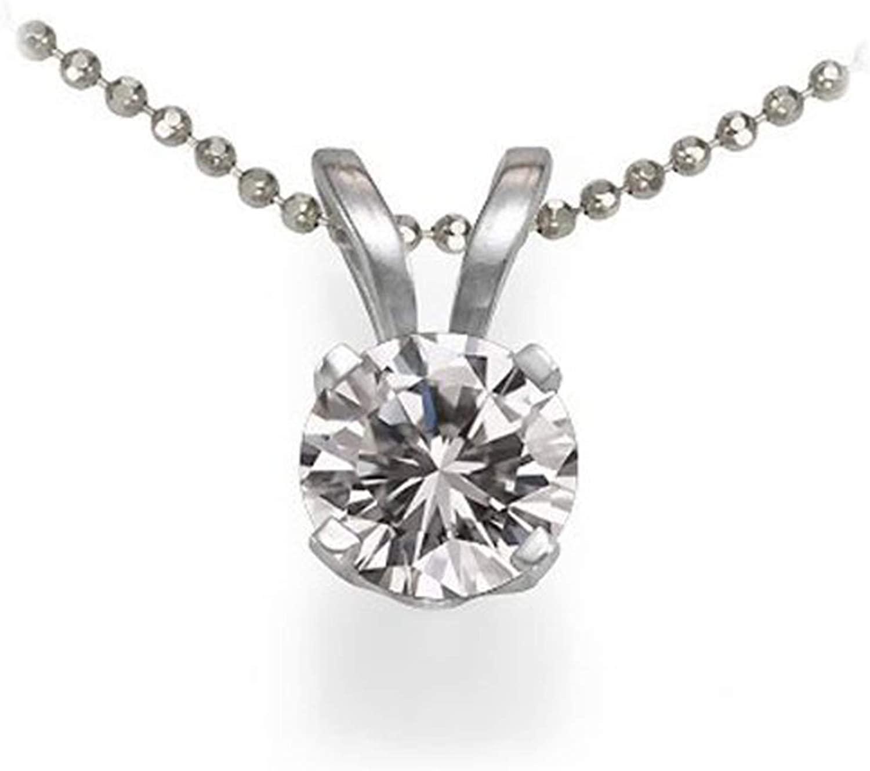 Dazzlingrock Collection 0.50 Carat (ctw) 14k Brilliant Round Diamond Solitaire Pendant 1/2 CT, Free 10K 18 INCH Rope Chain, White Gold