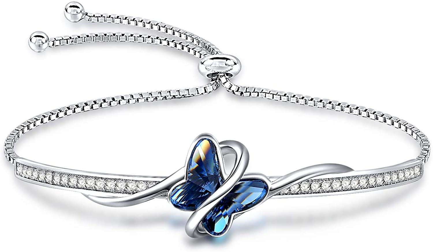 GEORGE · SMITH Blue Butterfly Crystal Bangle Bracelet for Women Silver Tone Adjustable Charms Bracelet with Crystals from Swarovski Girlfriend Birthday Jewelry with Elegant Gift Box