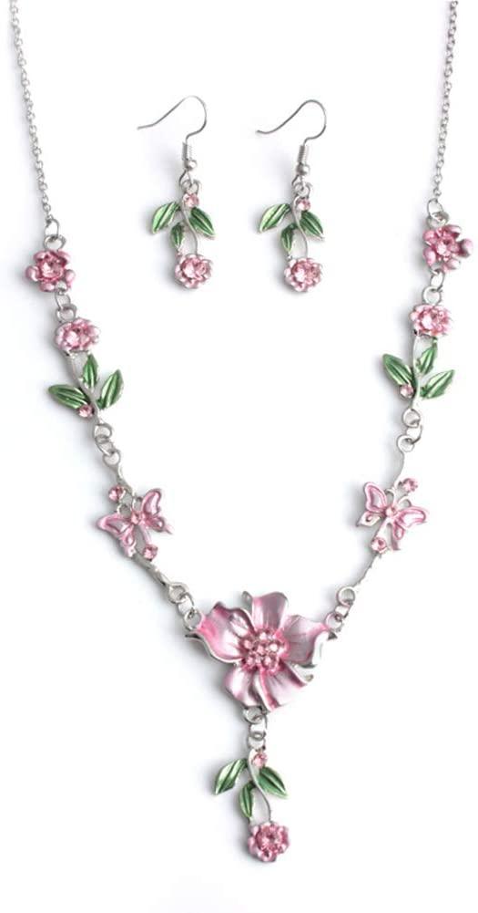 CHoppyWAVE Hook Earrings Necklace Jewelry Set Elegant Flower Leaves Butterfly Design Rhinestone for Lady Women - Pink