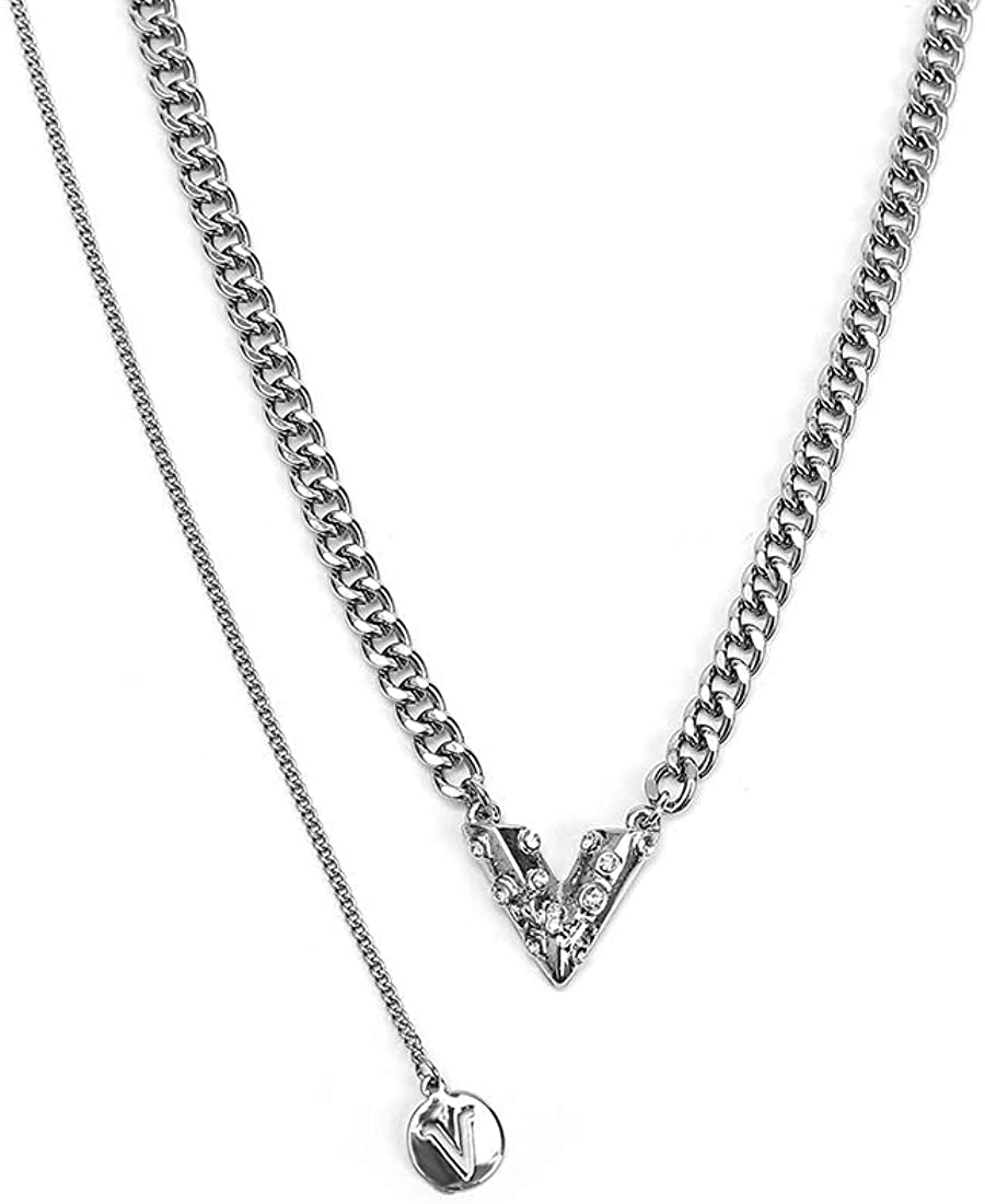 LUREME Silver Tone Love Chain Necklace Lock Pendant Letter Necklace Pearl Choker (nl006263)