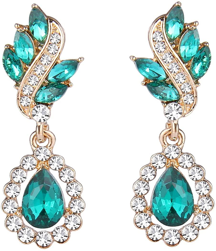 EleQueen Women's Austrian Crystal Art Deco Tear Drop Dangle Earrings Pierced
