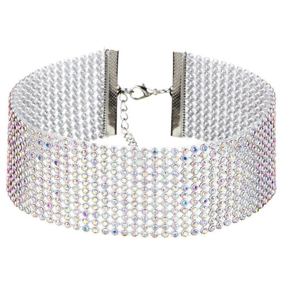 New Crystal Rhinestone Choker Necklace Women Wedding Accessories Silver Color Chain Punk Gothic Chokers Jewelry Collier Femme,Multicolor-3.8cm