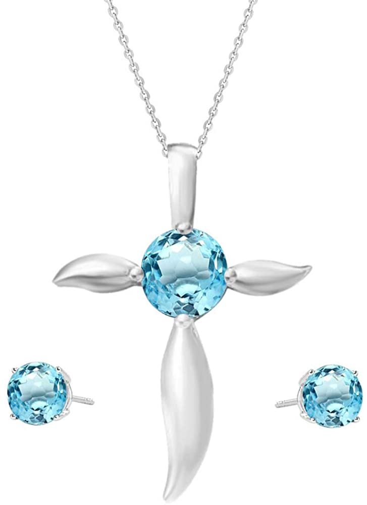 Elegant Touch 925 Sterling Silver Round Aquamarine Cross Pendant & Stud Earring Set for Women with Chain 18