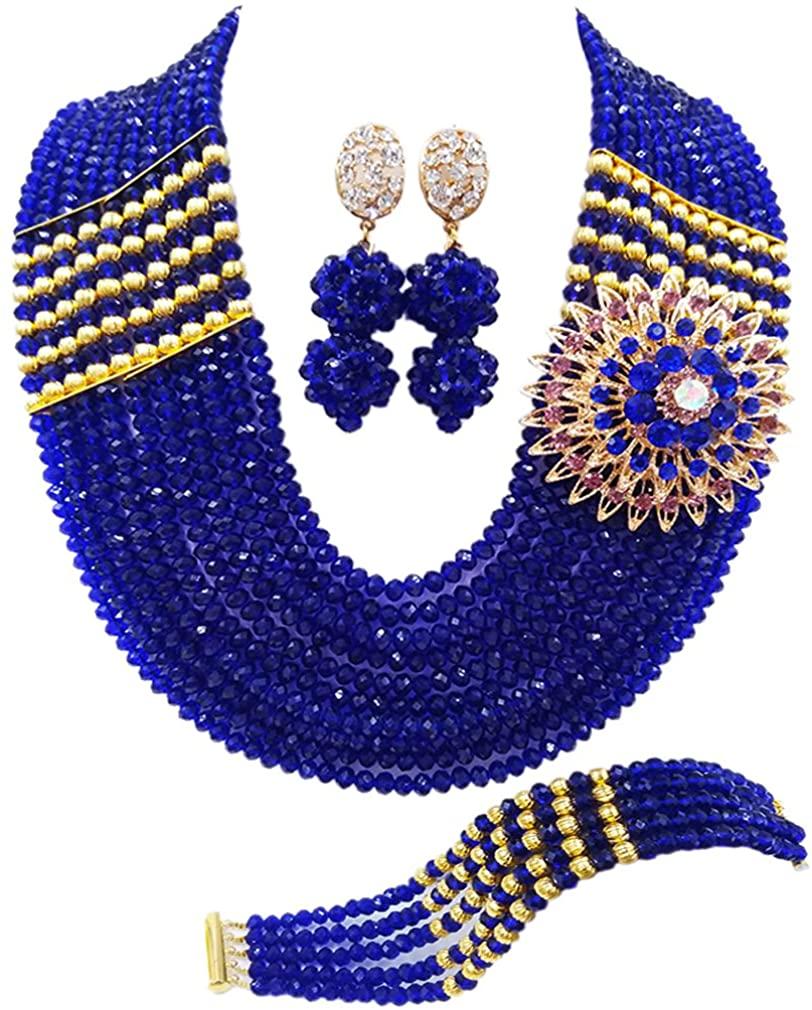 aczuv Nigerian Jewelry for Women African Wedding Necklace Set Crystal Beaded Bridal Jewelry Sets