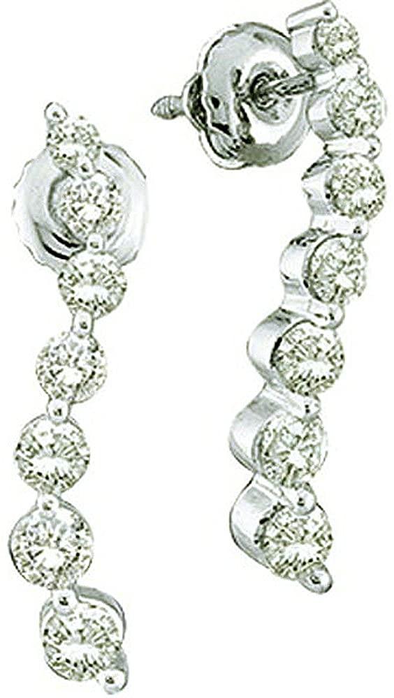 Dazzlingrock Collection 0.25 Carat (ctw) 10k White Diamond Ladies Journey Earrings, White Gold