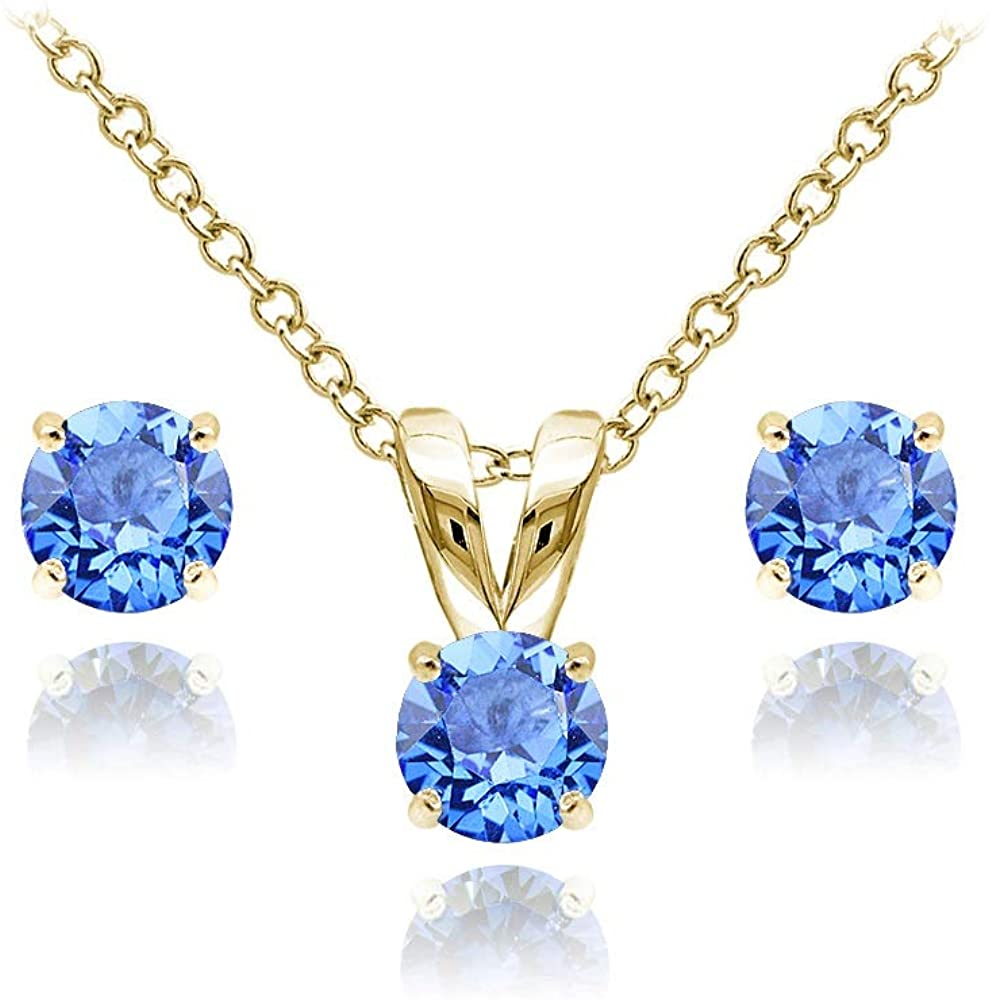 GemStar USA Yellow Gold Flashed Sterling Silver Solitaire Necklace & Stud Earrings Set Made with Swarovski Crystals