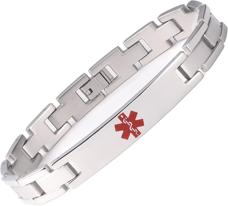 Tarring Free Engraving Medical Alert ID Bracelets for Men & Women 6.5-8.5 Inch Stainless Steel Emergency Alert ID Bracelets for Unisex