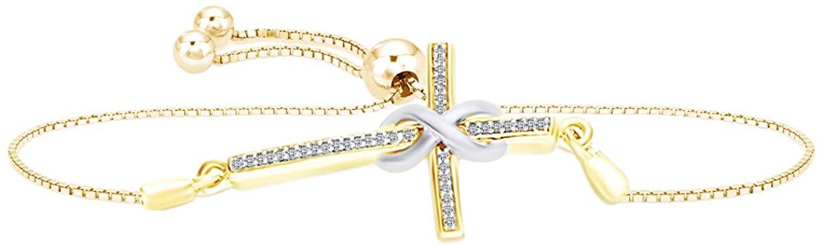 White Diamond Accent Infinity Wrap Cross Bolo Bracelet 14k Gold Over Sterling Silver & 10k Gold-9.5