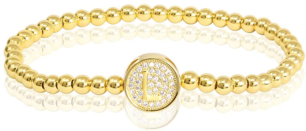 by You Initial Bracelets for Women 26 Letters Alphabet Round Charm Stainless Steel Gold Silver Beaded Ball Bracelets
