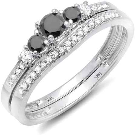 Dazzlingrock Collection 0.45 Carat (ctw) 14k Round Black & White Diamond 5 Stone Bridal Engagement Ring Set 1/2 CT, White Gold