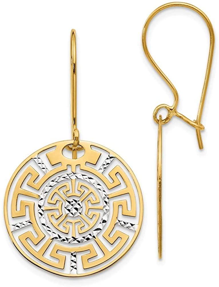 14k Two Tone Textured Polished Shepherd hook Gold Greek Key Long Drop Dangle Earrings Jewelry Gifts for Women