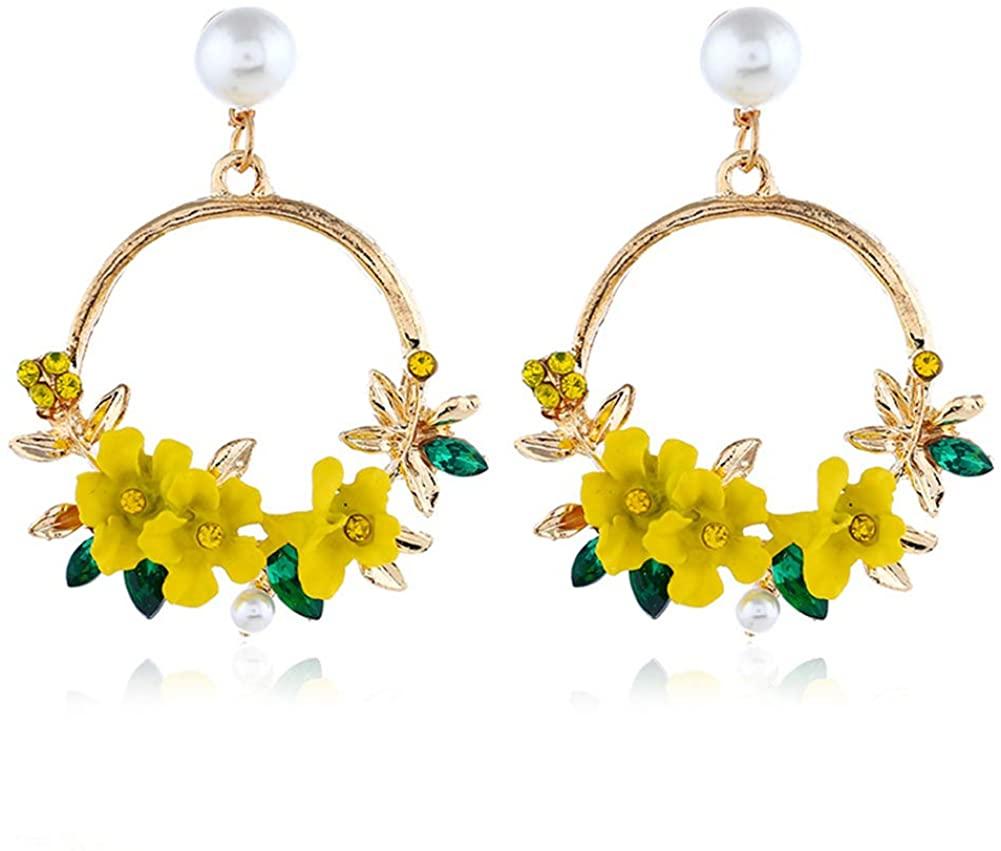 Flower Drop Alloy Circle Sweet Earrings Flower Rhinestone Circle Earring Petal Alloy Circle Statement Big Hoop Earring