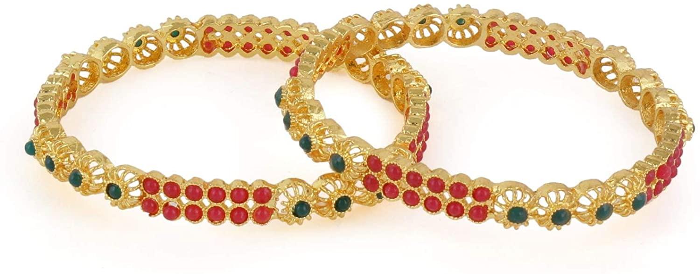 Efulgenz Indian Style Bollywood Gold Plated Crystal Rhinestone Faux Pearl Stone Wedding Bridal Bracelet Bangle Set Jewelry
