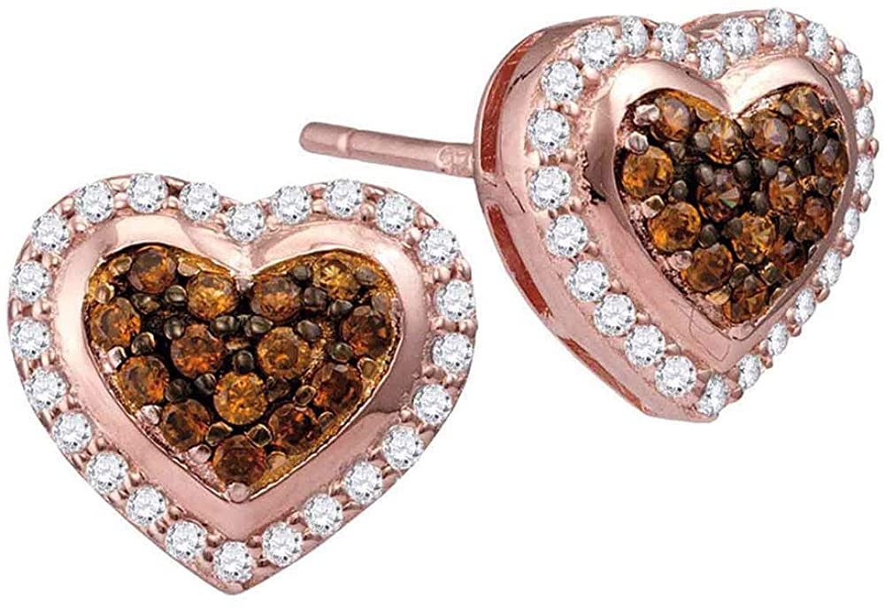 10kt Rose Gold Womens Round Brown Diamond Heart Cluster Screwback Earrings 1/2 Cttw Fine Jewelry for Women