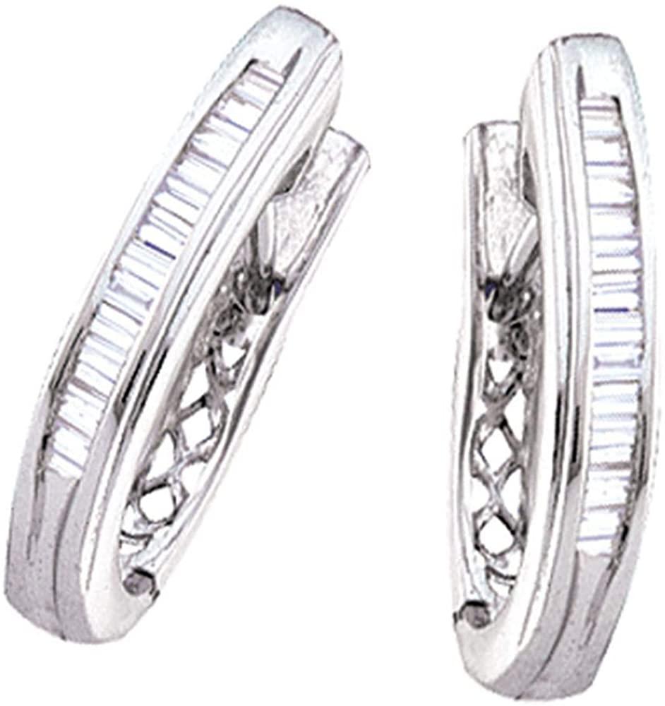 10kt White Gold Womens Baguette Channel-set Diamond Hoop Earrings 1/2 Cttw Fine Jewelry for Women