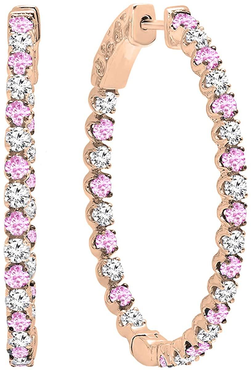 Dazzlingrock Collection 14K Round Gemstone & White Diamond Ladies Hoop Earrings, Rose Gold