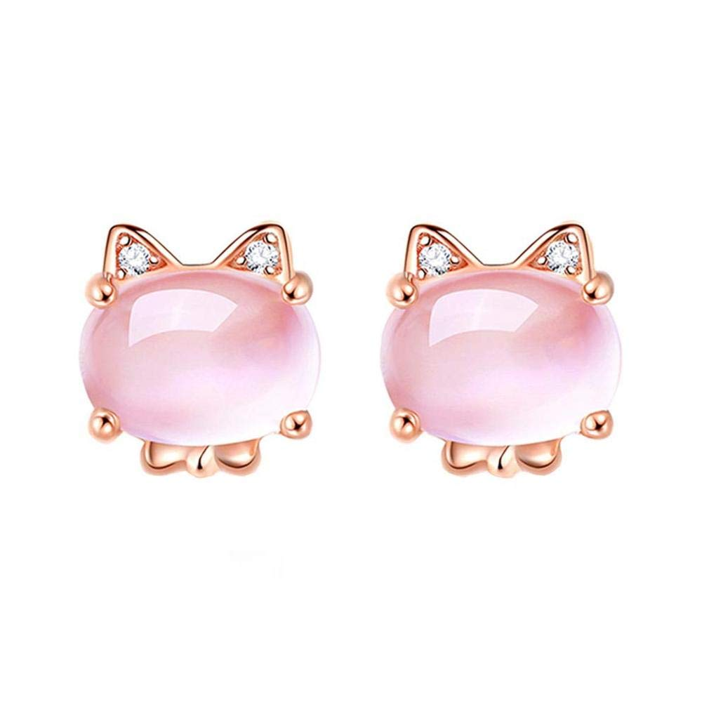 ICHQ Plated 925 Silver Rose Gold Diamonds Cute Cat Eye Stone Furong Stone Powder Crystal Bunny Stud Earrings Animal Earrings Jewelry (Pink)