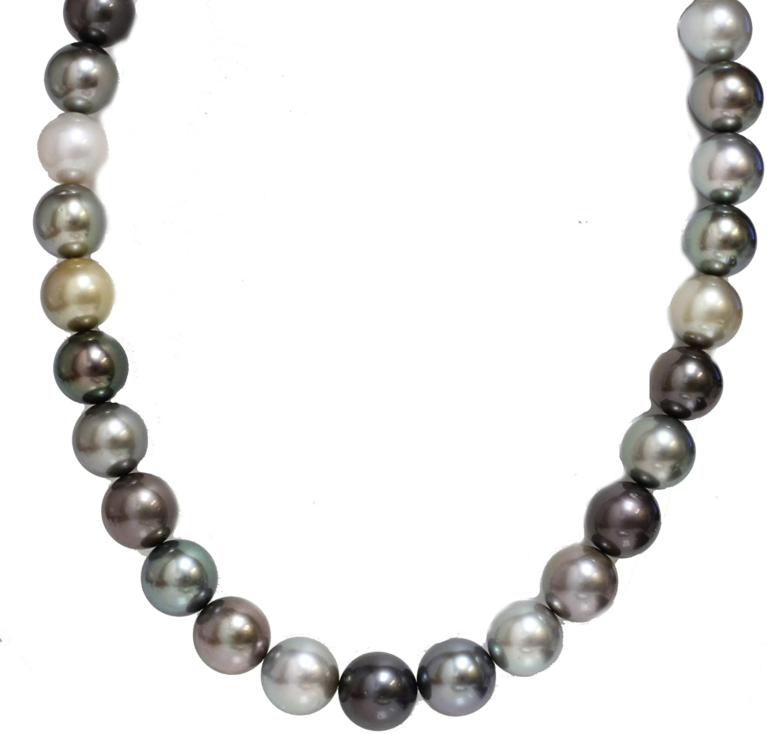 Tahitian South Sea Pearl Necklace Gift for Women AAA 14-13 mm Fancy Multicolor 20