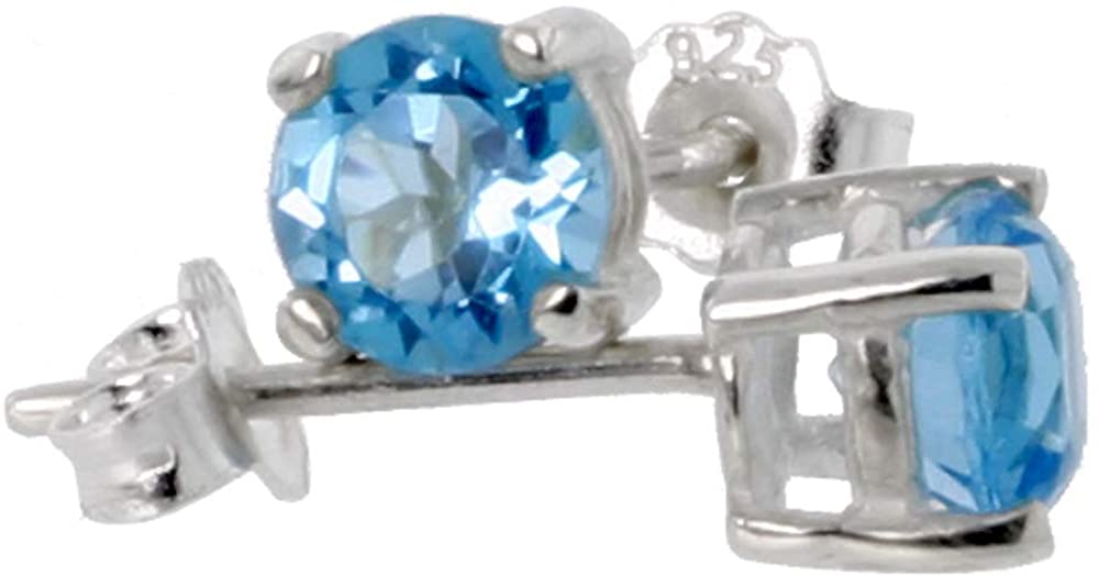 Sterling Silver Genuine Blue Topaz Stud Earrings 4 prong Basket Setting 4-6 mm Princess and Round