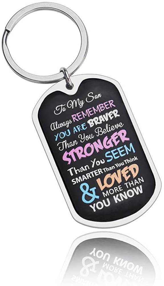 Inspirational Keychain Gifts for Son Daughter Birthday Graduation Present for Women Men Him Her Always Remember You are Braver Than You Believe Personalized Charms Pendant for Kids Boys Girls