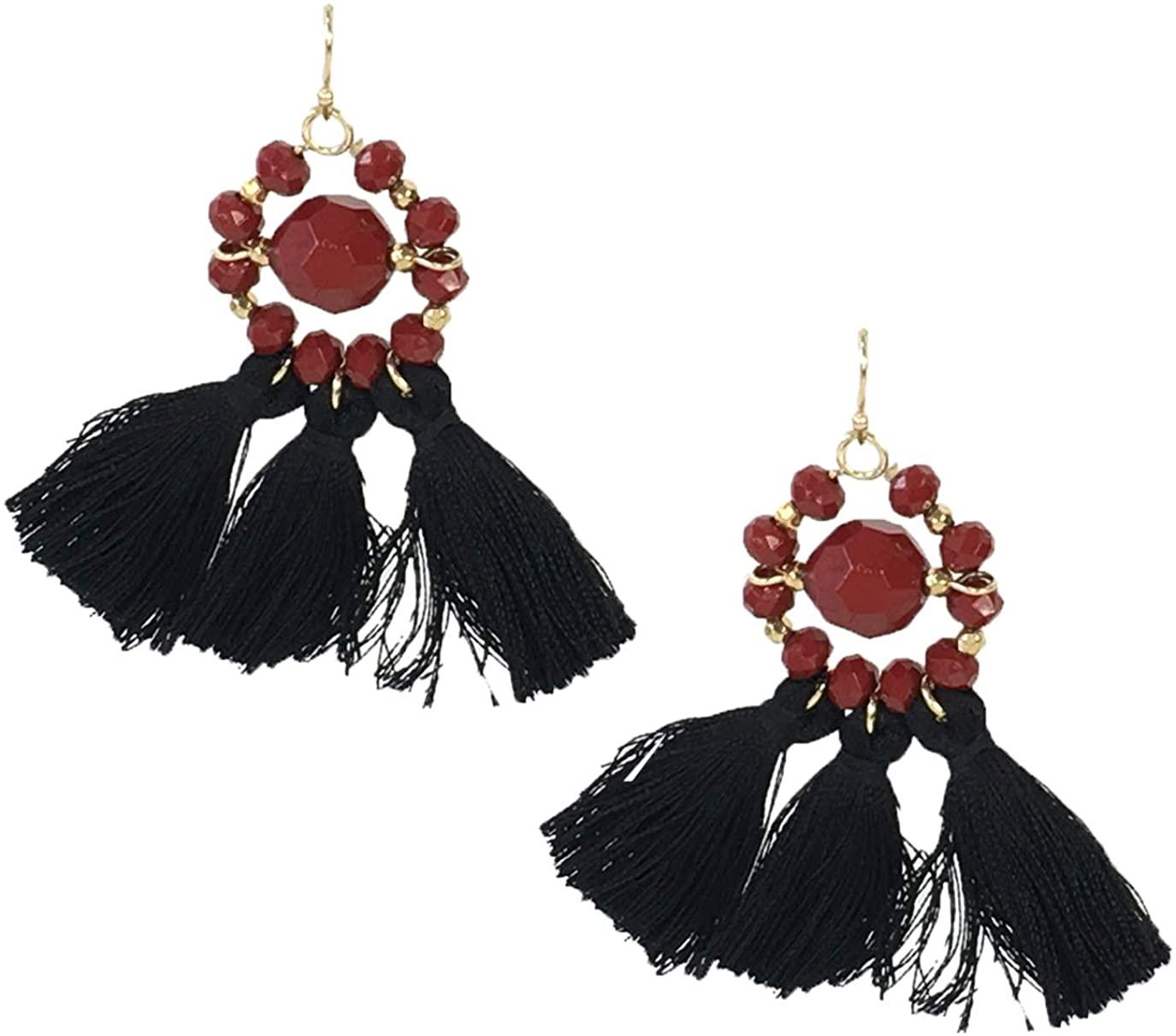 Mary Square Beaded Tassel Drop Earrings, Crimson Red/Black