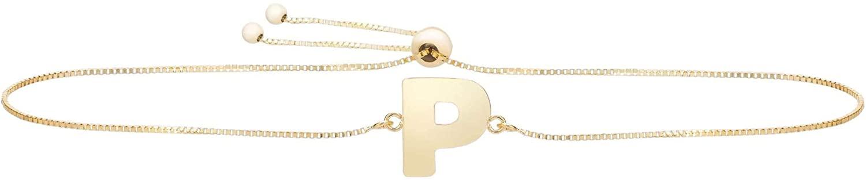 14K Yellow Gold Polished All 26 Letter Alphabet Initial Adjustable Pull Bolo Bracelet, Giorgio Bergamo
