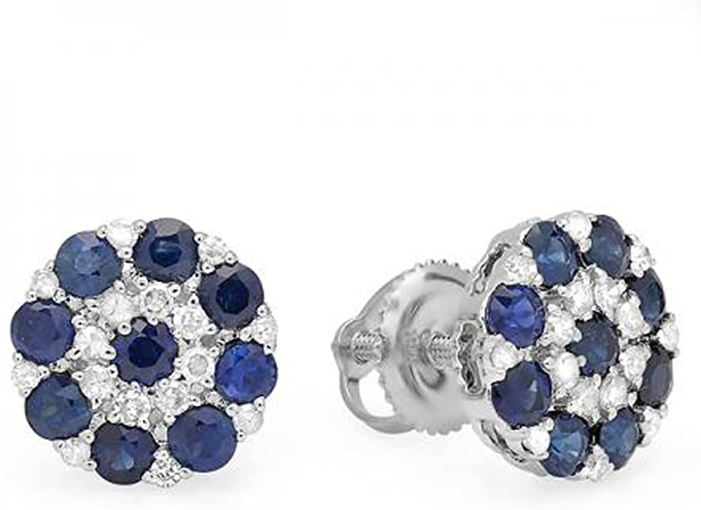 Dazzlingrock Collection 10K White Diamond & Blue Sapphire Ladies Flower Cluster Earrings, White Gold