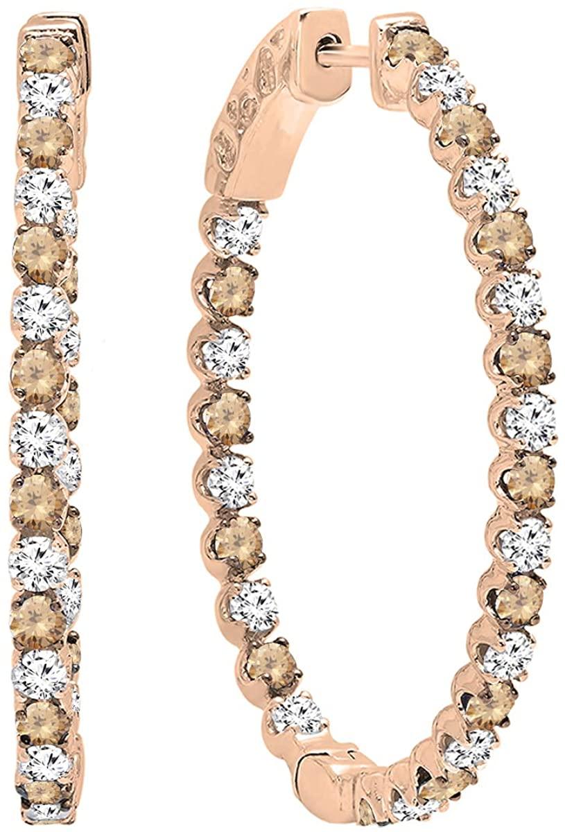 Dazzlingrock Collection 10K Round Gemstone & White Diamond Ladies Hoop Earrings, Rose Gold