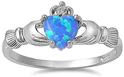 Silver Plated Claddagh P 1/2 (UK, AU) 8 (US) Band Ring with December Blue Faux-Topaz Birthstone