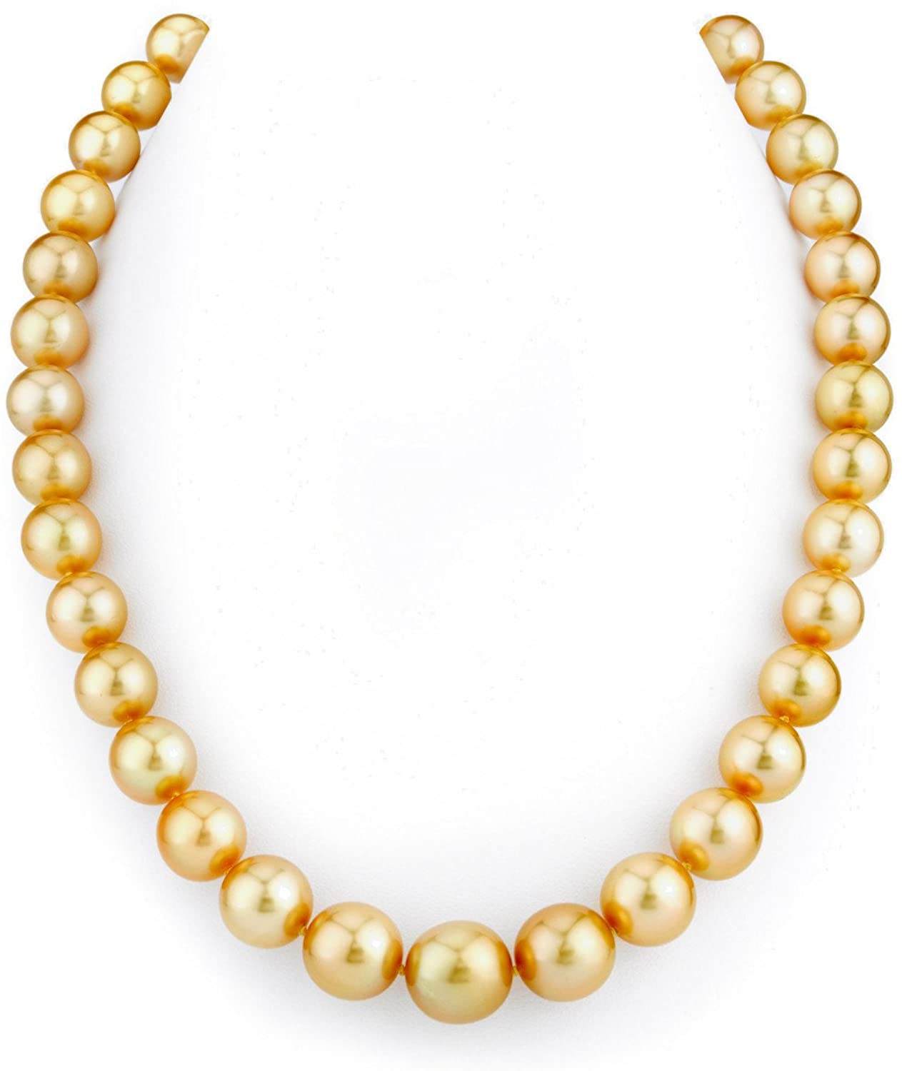 THE PEARL SOURCE 14K Gold 10-13mm AAAA Quality Round Genuine Ultimate Dark Golden South Sea Cultured Pearl Necklace in 17