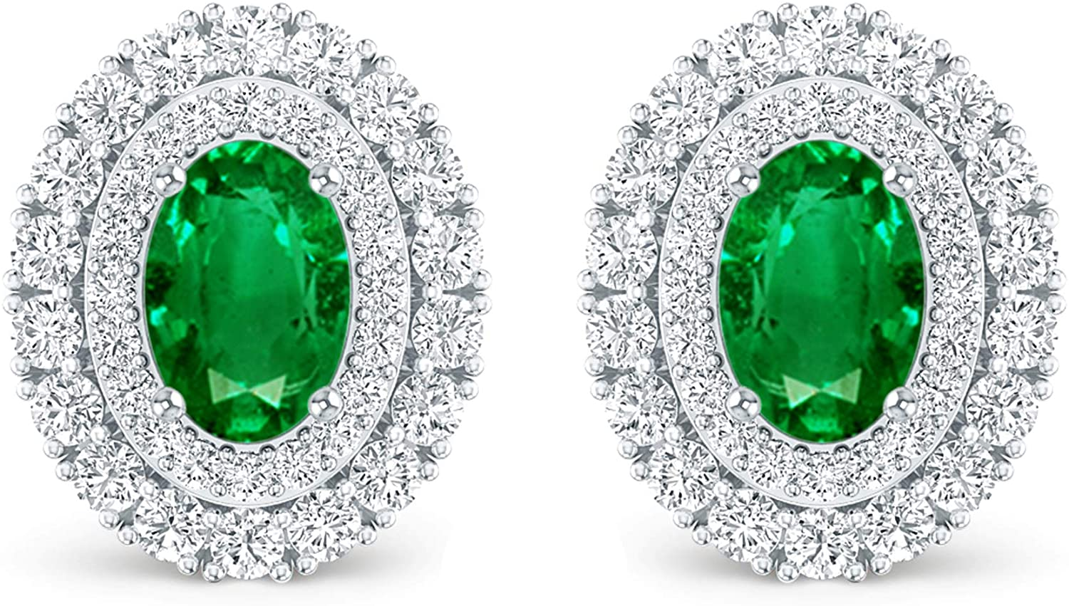 Inspereza Oval Gemstone and White Diamond Double Halo stud Earring in 14kt Gold (6X4 MM Gemstone)