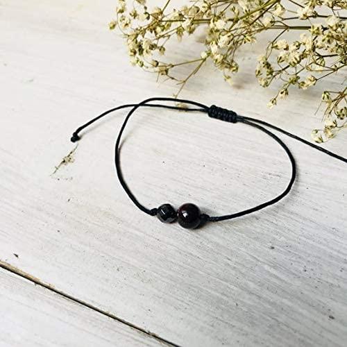 Anxiety Gemstone 6-7mm Adjustable Black Garnet & hematite Bracelet Round, Smooth 7