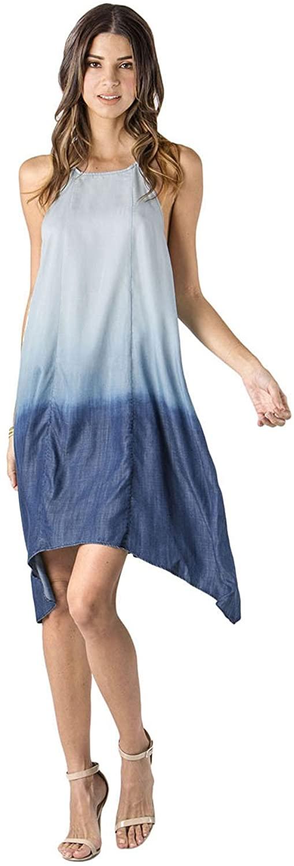 Standards & Practices Modern Womens Denim Dip Dye Racerback Pull Over Maxi Dress
