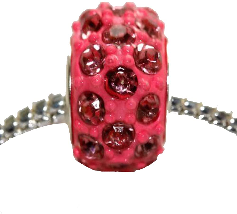 Sexy Sparkles Acrylic Pink Charm Bead for Snake Chain Charm Bracelet