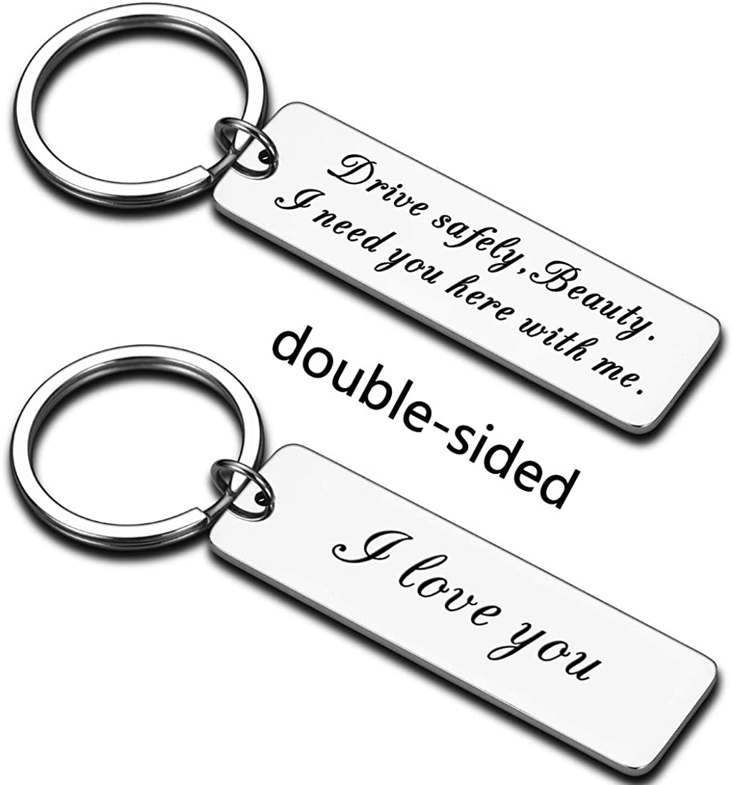 Drive Safely Keychain Gift for Women Girlfriend Wife Daughter Mom Female New Driver Trucker Couple Gifts for Girls Friend Birthday Valentines Day Love You Need You Here with Me Female Present