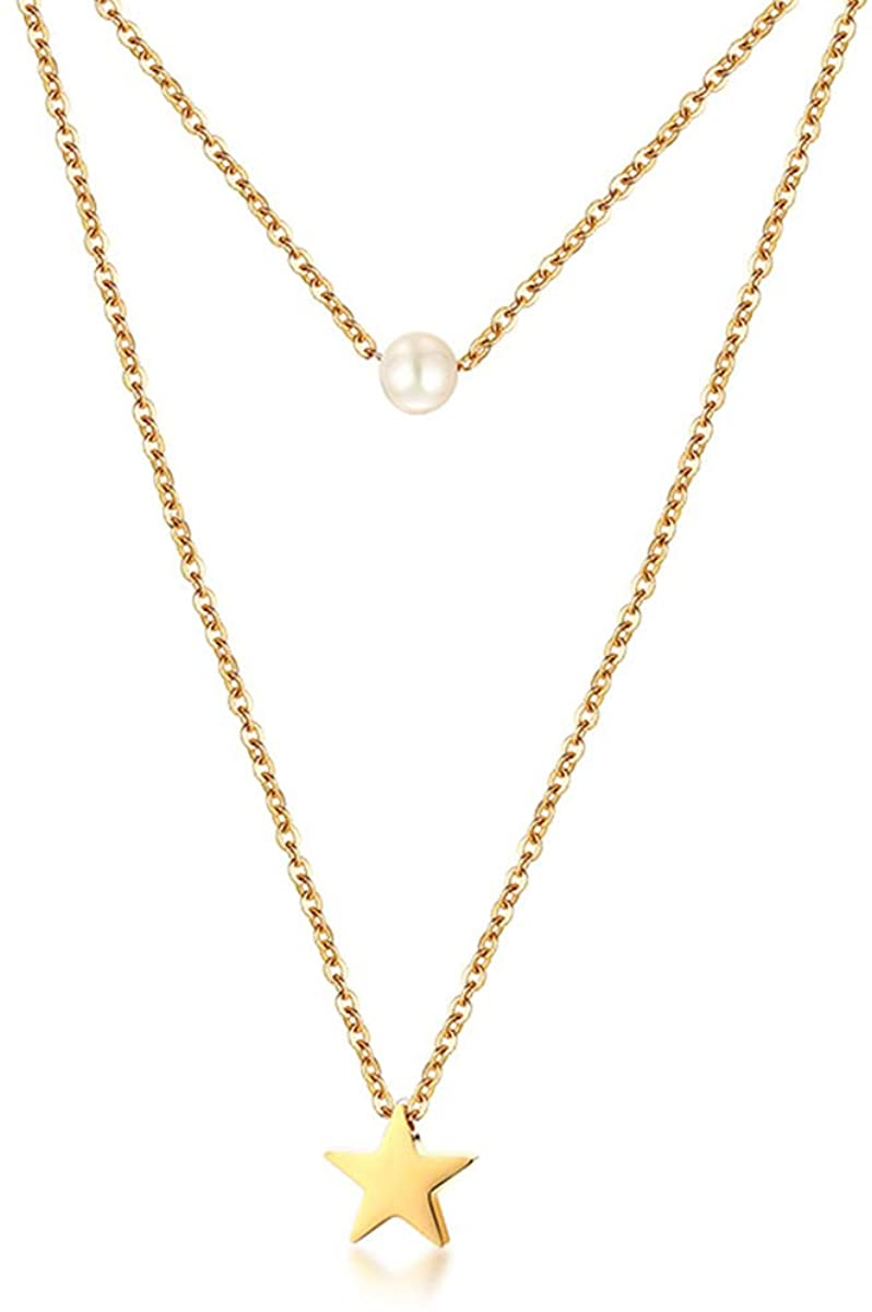 A D. ALLEN & DANMI. AD Jewelry Dainty Layered Choker Necklace with Synthetic Pearls, Bar, Hammered Disc Star Heart Stainless Steel 18K Gold Plated Multilayer Necklaces Set for Women