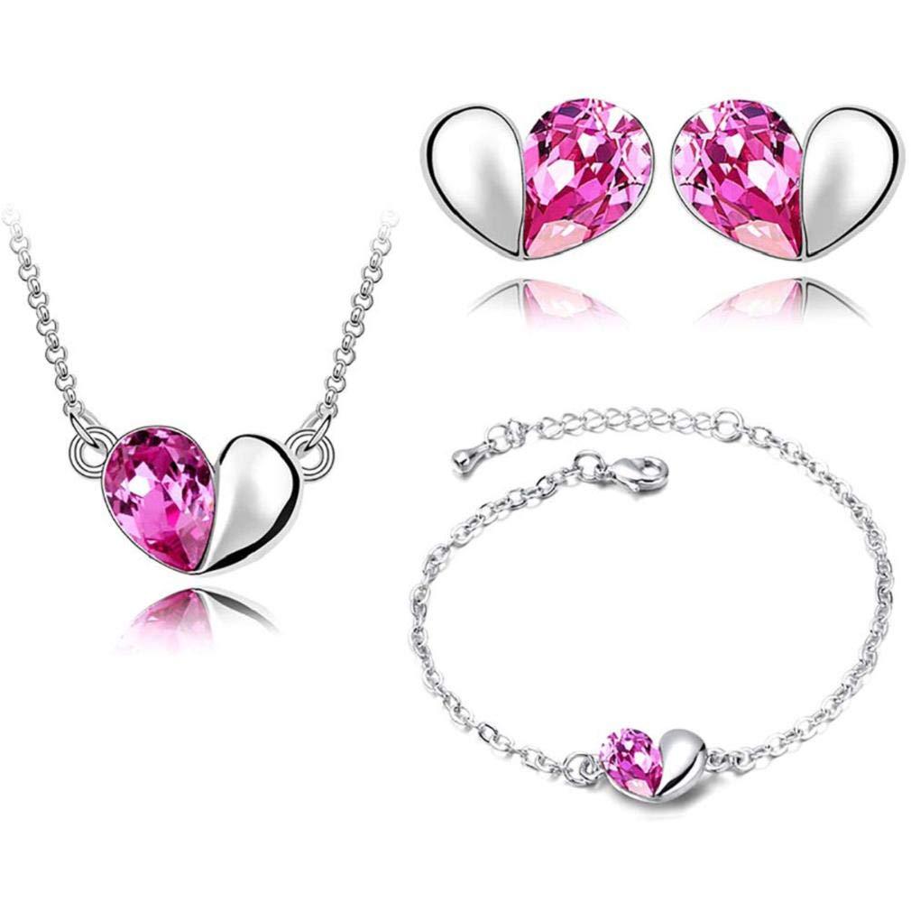 ICHQ Fashion Diamond Crystal Elegant Necklace Earrings Bracelet Heart Love Women Jewellery Set of Crystal Pendant (Rose Red)
